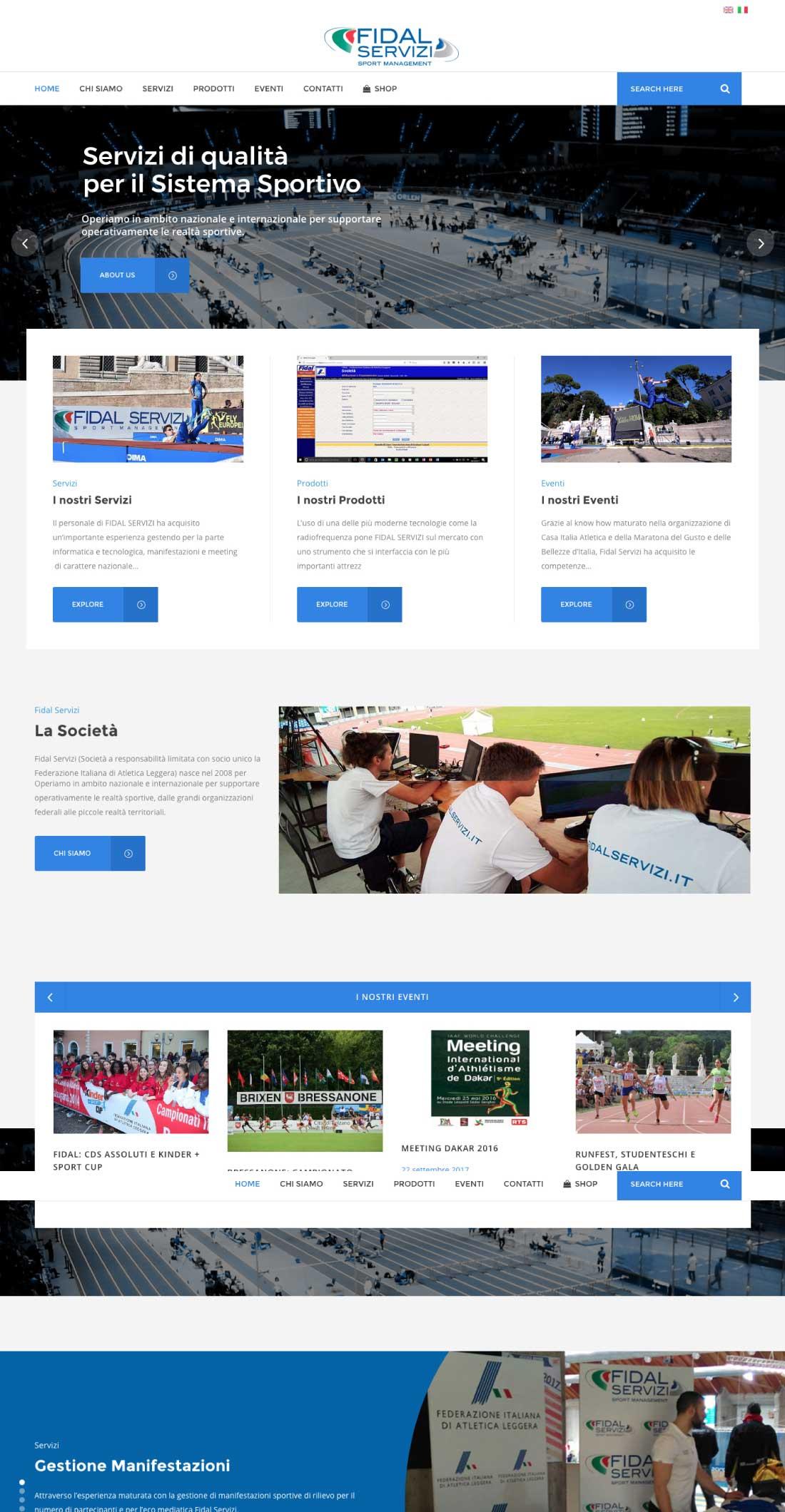 Layout sito web Fidal Servizi